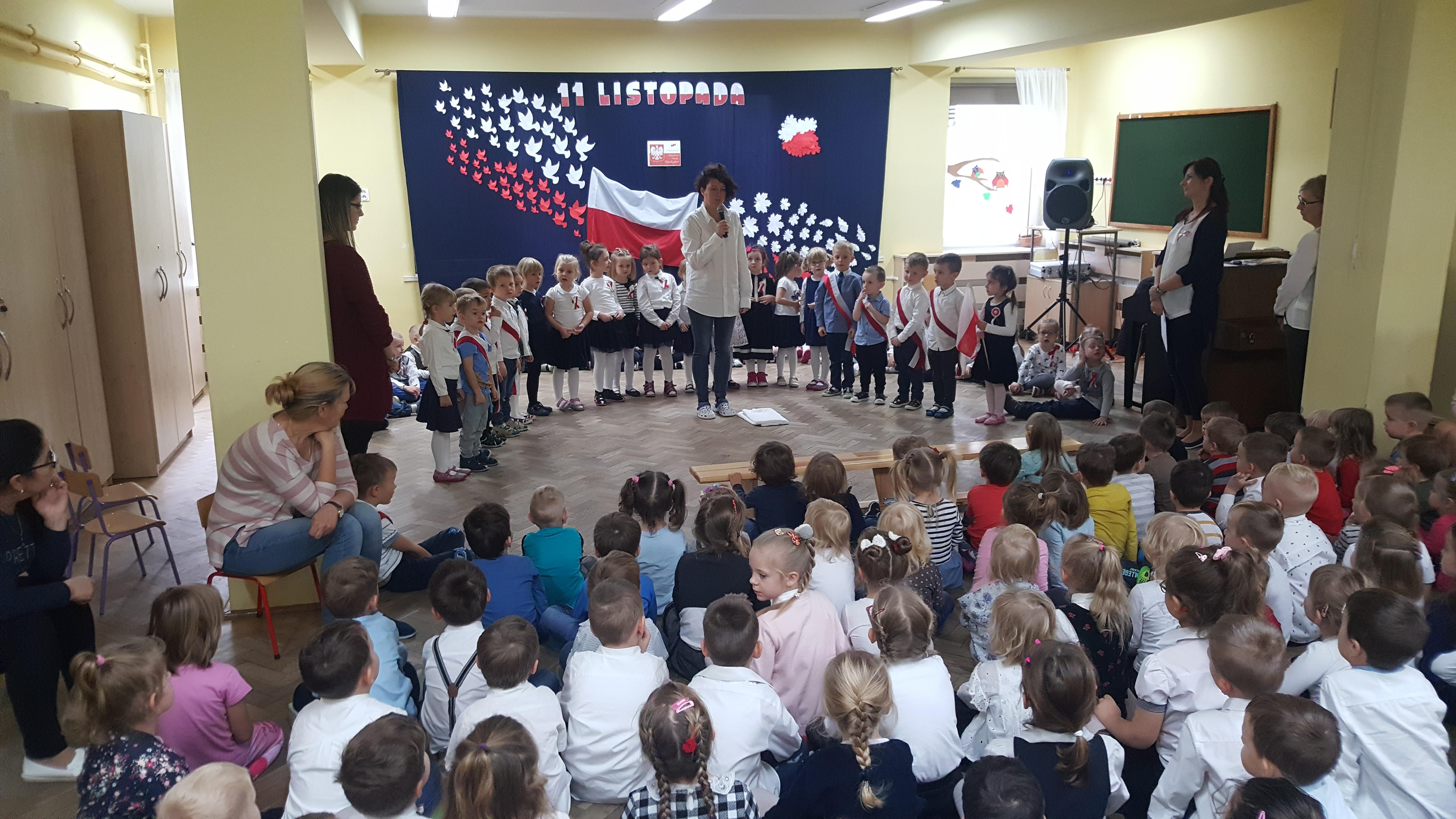 Uroczyste obchody Święta Niepodległości Polski w naszym przedszkolu.